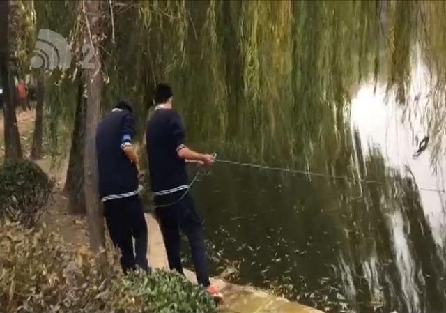 人工湖里撒网捕鱼 疑是准厨师