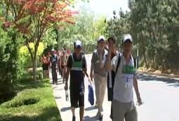 中日市民游客赏槐徒步大会举行